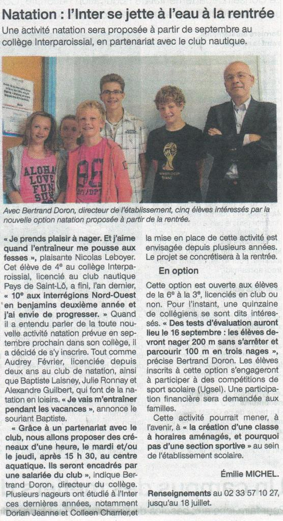 Article Ouest-France Natation