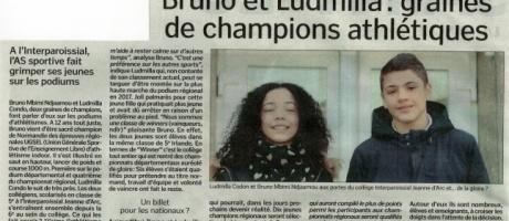 Bruno et Ludmilla : graines de champions d'athlétisme