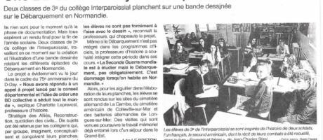 75e anniversaire du Débarquement. Les élèves de l'Interparoissial, à Saint-Lô, planchent sur une BD
