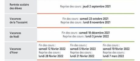 Calendrier scolaire 2021/2022